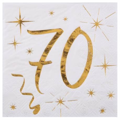 20 Serviettes à dessert blanches avec âge en dorure or 70 ans pour une décoration de table d'anniversaire chic et tendance Dimensions:...
