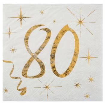 20 Serviettes dessert âge d'or 80 ans