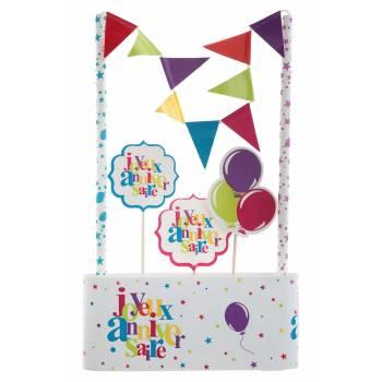 Kit déco de gâteau Joyeux anniversaire multicolore