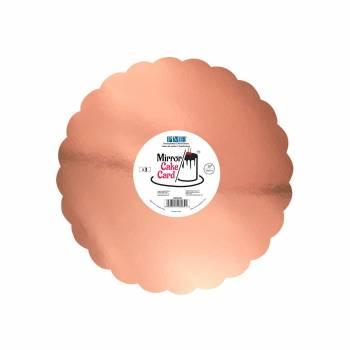 3 Semelles à gâteau miroir gold rose festonné 25cm