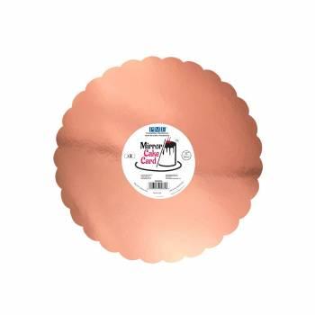 3 Semelles à gâteau miroir gold rose festonné 30cm