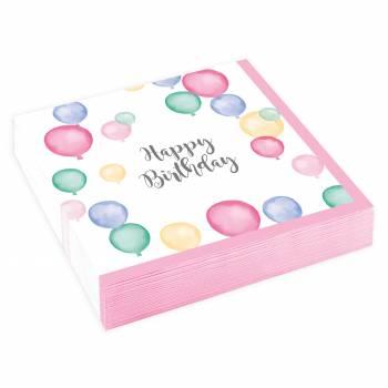 20 Serviettes dessert Birthday Pastel