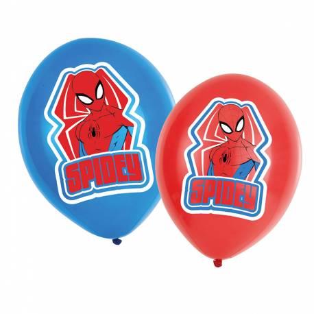 6 Ballons latex Spiderman impression couleur pour une belle décoration d'anniversaire Dimensions : Ø27.5cm