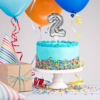 Cake topper ballon argent 2