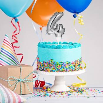 Cake topper ballon argent 4