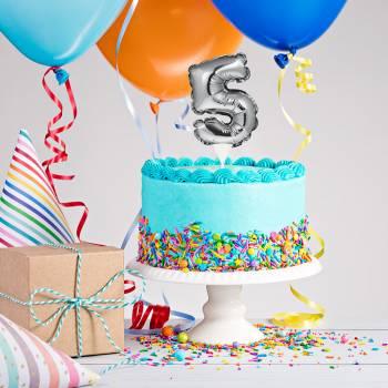 Cake topper ballon argent 5