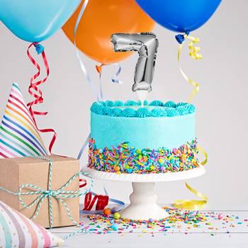Cake topper ballon argent 7