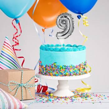 Cake topper ballon argent 9