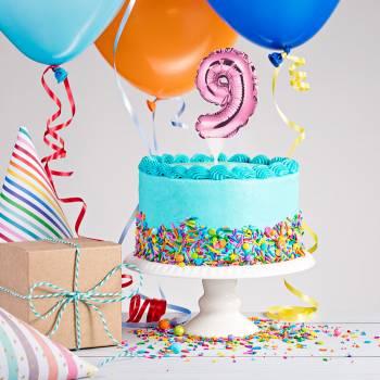 Cake topper ballon rose N°9