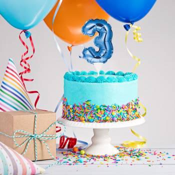 Cake topper ballon bleu N°3