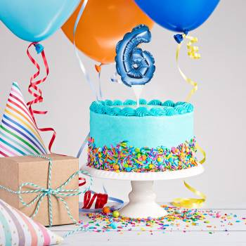 Cake topper ballon bleu N°6