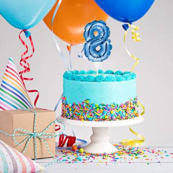 Cake topper ballon bleu N°8