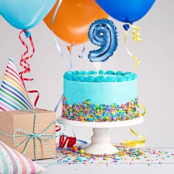 Cake topper ballon bleu N°9