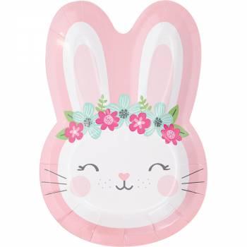 8 Assiettes tête Bunny Party