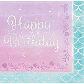 16 Serviettes Happy Birthday sirène shine