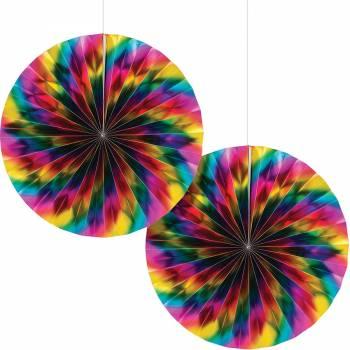 2 Eventails rainbow foil