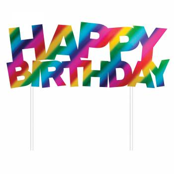 Cake topper Happy Birthday rainbow foil