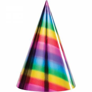 8 chapeaux de fête rainbow foil