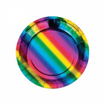 8 Assiettes à dessert Rainbow foil