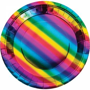 8 Assiettes Rainbow foil