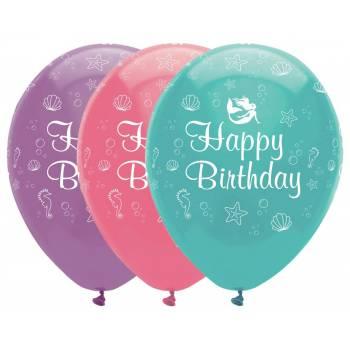6 Ballons latex sirène shine