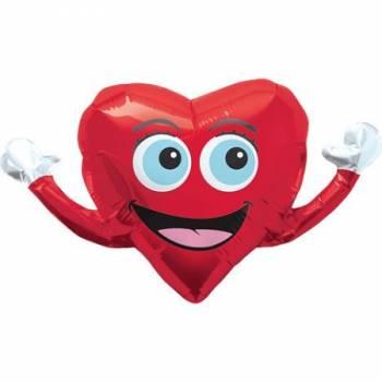 Ballon hélium coeur happy
