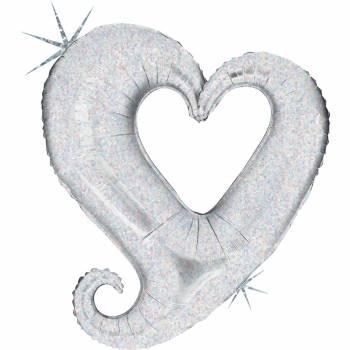 Ballon hélium chaîne de coeur argent