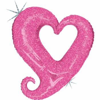 Ballon hélium chaîne de coeur rose