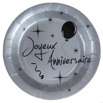 10 Assiettes joyeux anniversaire gris argent
