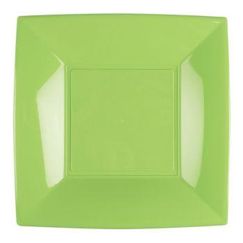 8 Assiettes carrée verte anis