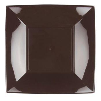 8 Assiettes carrée chocolat