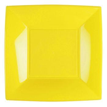 8 Assiettes carrée jaune