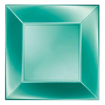 8 Assiettes carrée vert perlé