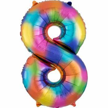 Ballon géant chiffre 8 rainbow