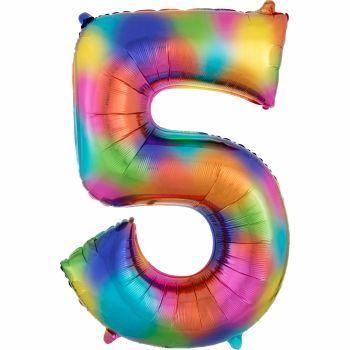 Ballon géant chiffre 5 rainbow