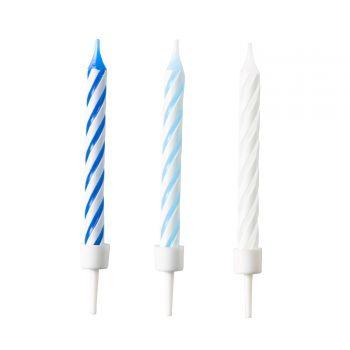 10 Bougies anniversaire tons bleues