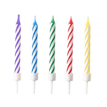12 Bougies anniversaire rayures multicolore