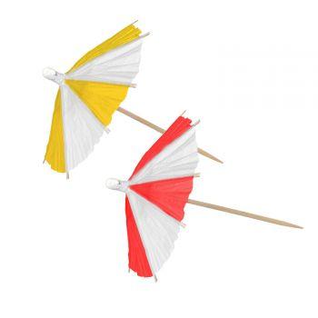 10 Parasol à cocktail rouge et jaune