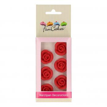 6 Roses rouges pâte d'amande Funcakes