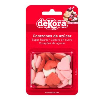 Mini coeurs en sucre rose, rouge et blanc