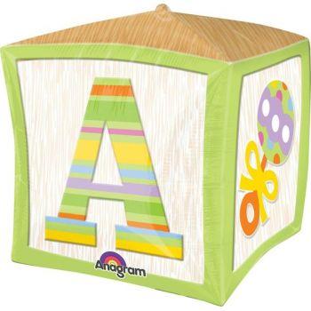 Ballon cube vert alphabet