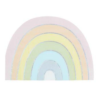16 Serviettes Arc en ciel pastel