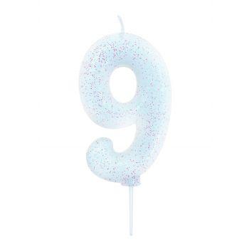 Bougie chiffre N°9 glitter blanche