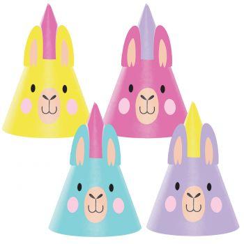 8 chapeaux de fête Lama party