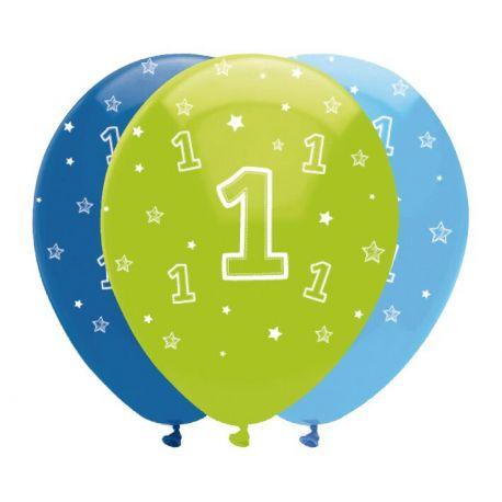6 Ballons en latex décor 1 an safari bleu pour une belle décoration de fête d'anniversaire sur le thème des animaux de la savane Taille:...