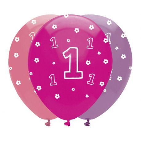 6 Ballons en latex décor 1 an safari rose pour une belle décoration de fête d'anniversaire sur le thème des animaux de la savane Taille:...