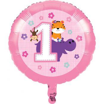 Ballon hélium 1 an safari rose