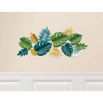 Kit décors mural feuilles or 13 pièces