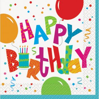 16 Serviettes Birthday confettis - Thema Deco.fr