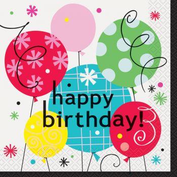 16 Serviettes Birthday breezy ballons